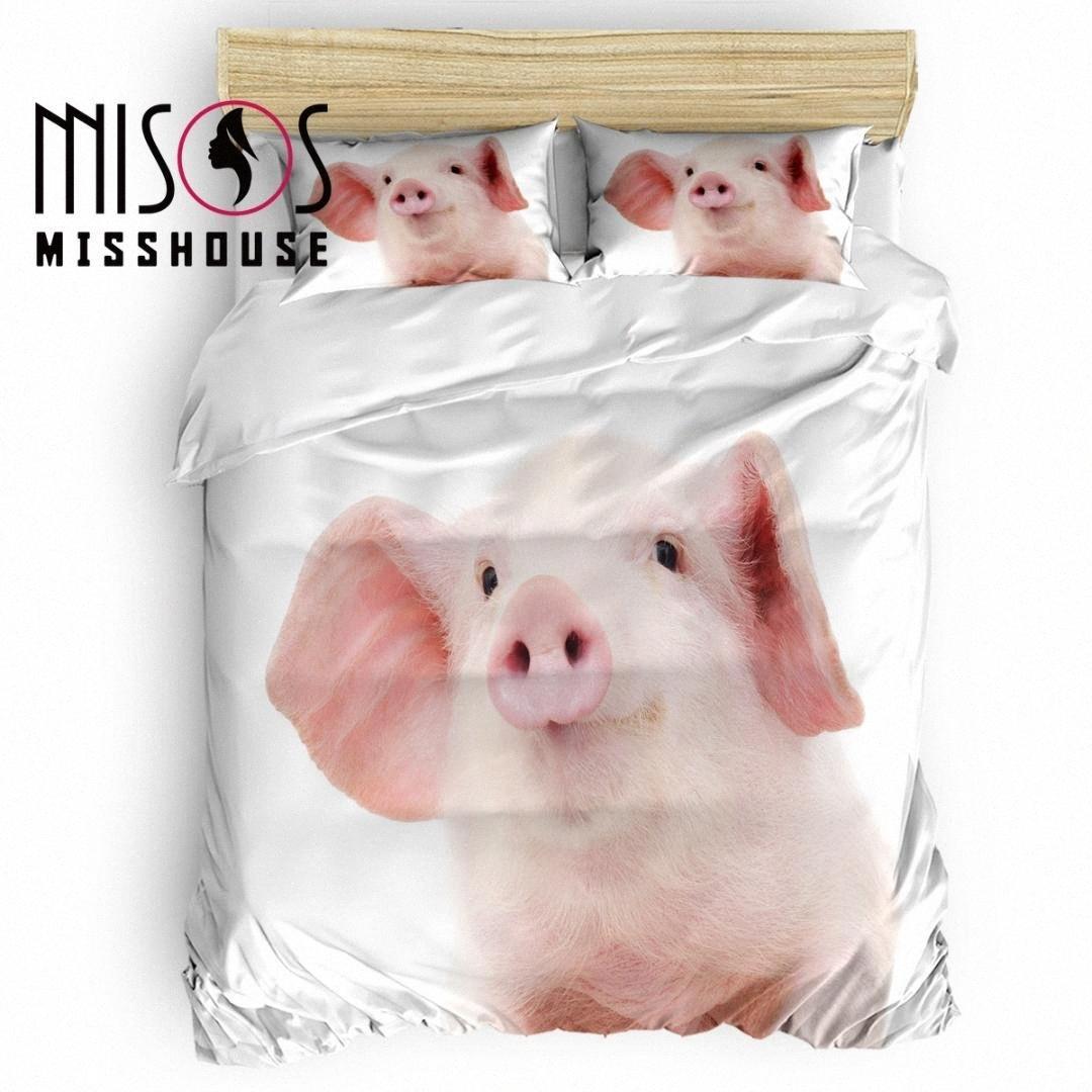 MISSHOUSE animal bonito Pig edredon cobrir Set Roupa de cama Consolador Tampa Fronhas conjuntos de cama N3qw #