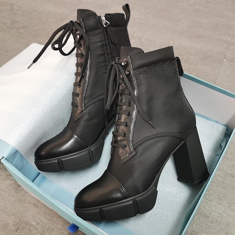 상자와 여성 플라크 발목 부츠 디자이너 신발 하이힐 최고 품질 진짜 가죽 신발 패션 블랙 레이스 업 땅딸막 한 고무 신발