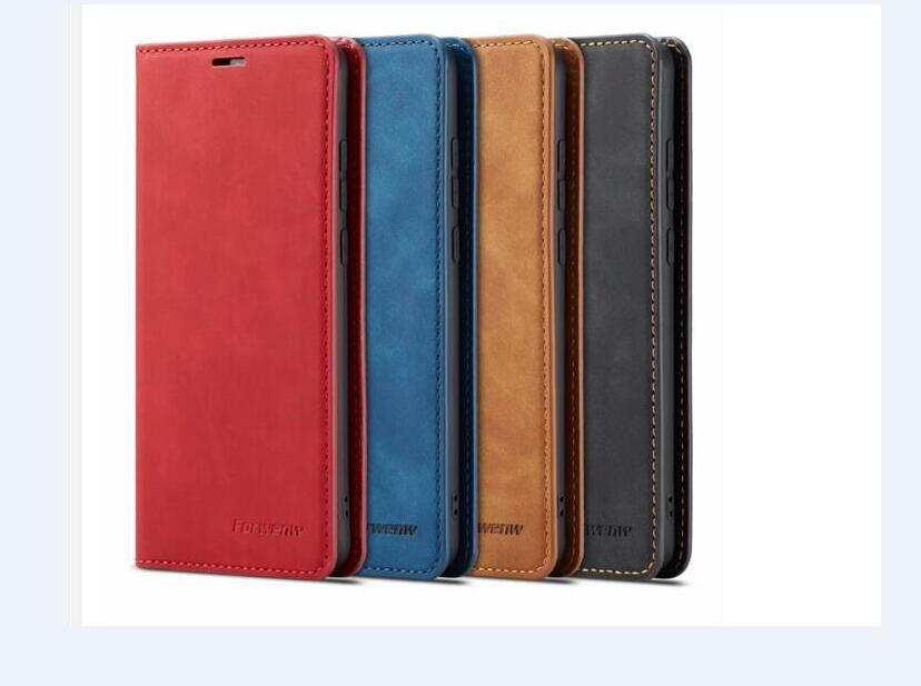 원래 Forwenw 마그네틱 가죽 지갑 케이스 Bumper와 카드 슬롯 플립 자석 덮개 iPhone13 12 11xs 삼성 S10 Huawei P20 P30