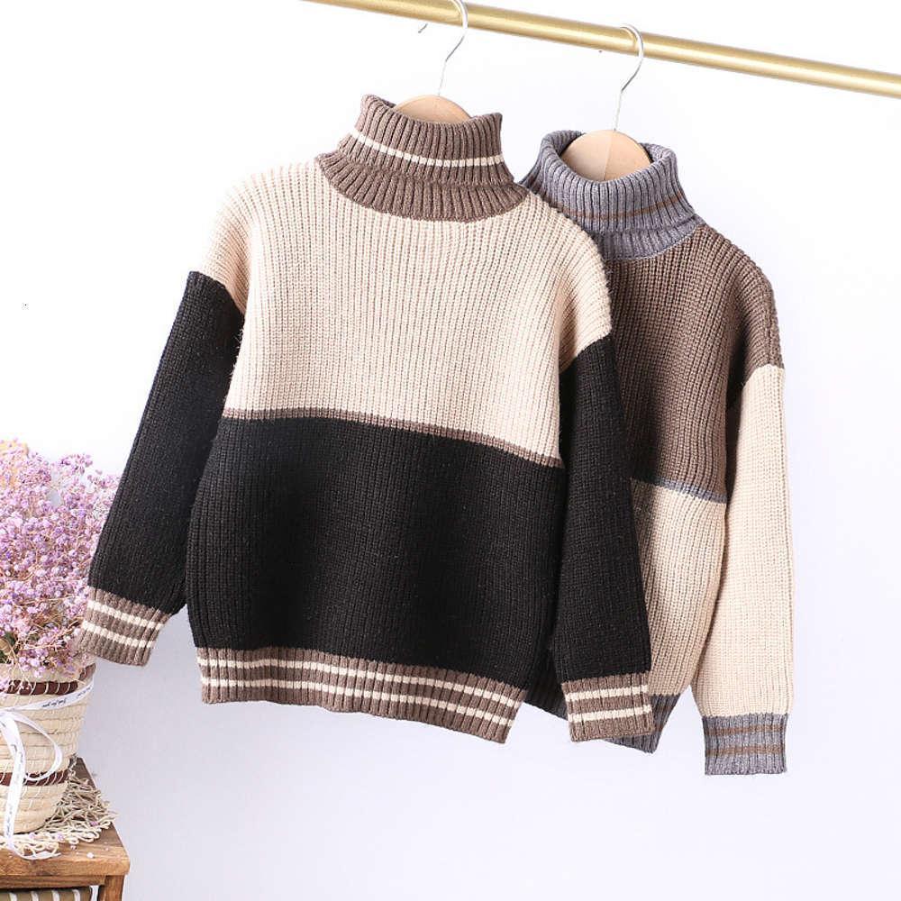 Высокая детская одежда утолщенная 2020 года зимний воротник мода цвет соответствует теплую свитер мальчиков Chaozhong