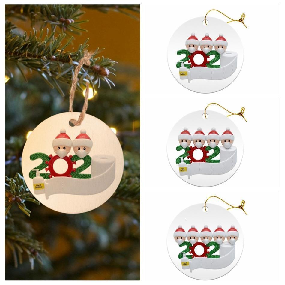 8cm Rund 2020 Quarantine Familie Ornament DIY Rasin-Karte Weihnachtsbaum Sankt-hängender Anhänger Partei-Dekoration LJJP539BZY5