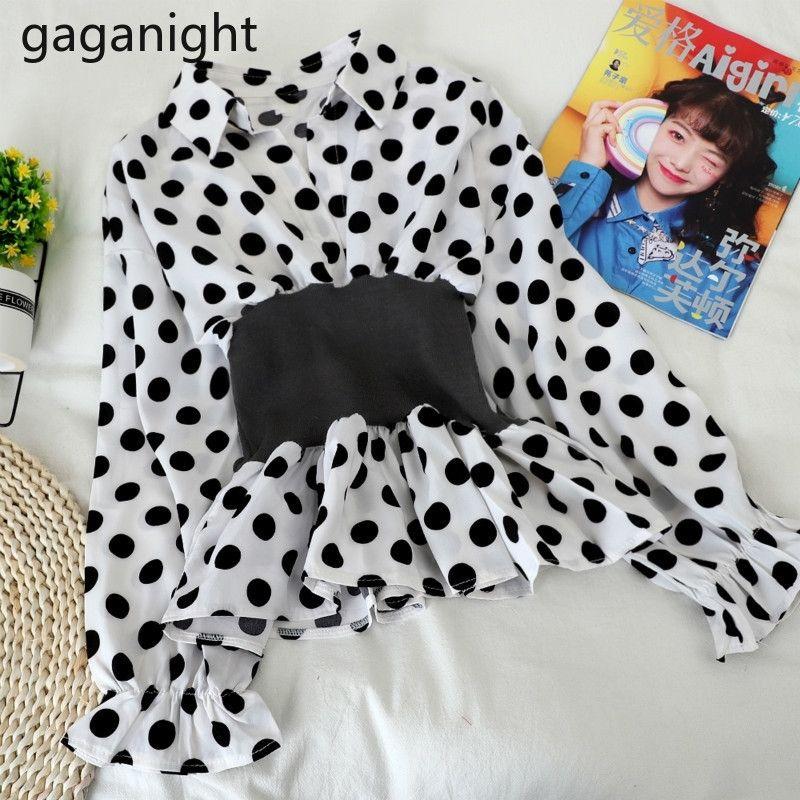 GAGANIGHT Kadınlar Moda Bluz İlkbahar Yaz Ofis Lady Gömlek Uzun Kollu Açmak Yaka Katı Chic Korece Blusas Yeni 201201