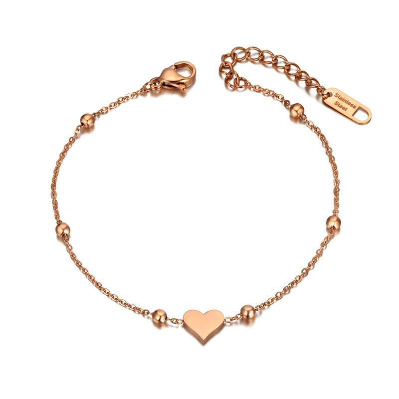 Edelstahl Herz Charm Armbänder für Frauen Mädchen Nette / Romantische Rose Gold Kettenglied Link Armband Schmuck B20069