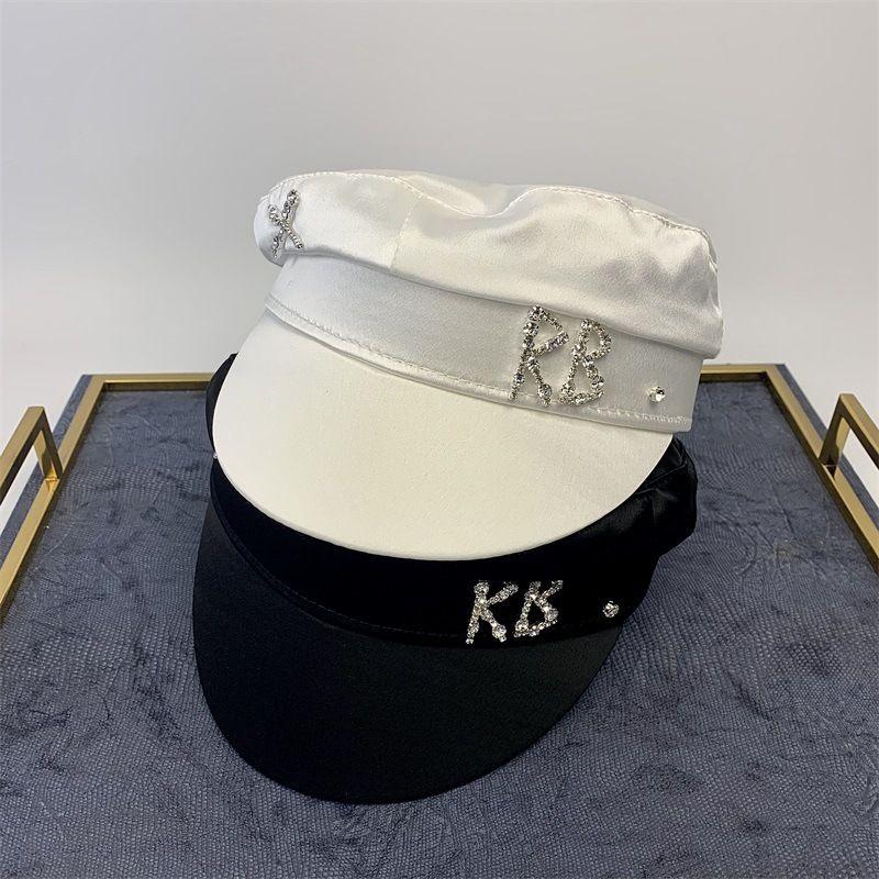 Semplice Navy strass Rb Cappello Donne Street Fashion Style dello strillone cappelli neri Berretti Flat Top Caps Uomini Ship capolettera