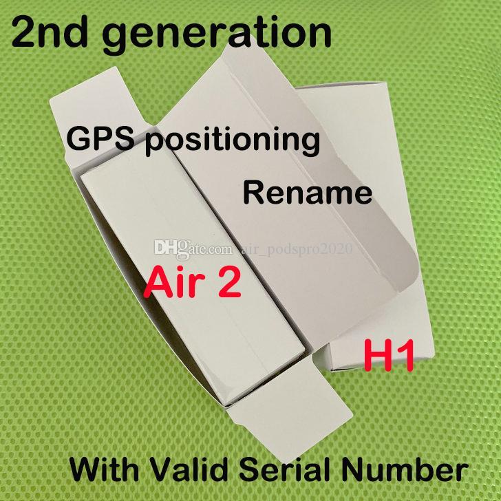 chip de ar H1 headset Renomeado 2ª Geração de carregamento sem fio Bluetooth fones de ouvido GPS de posicionamento e número de série válido