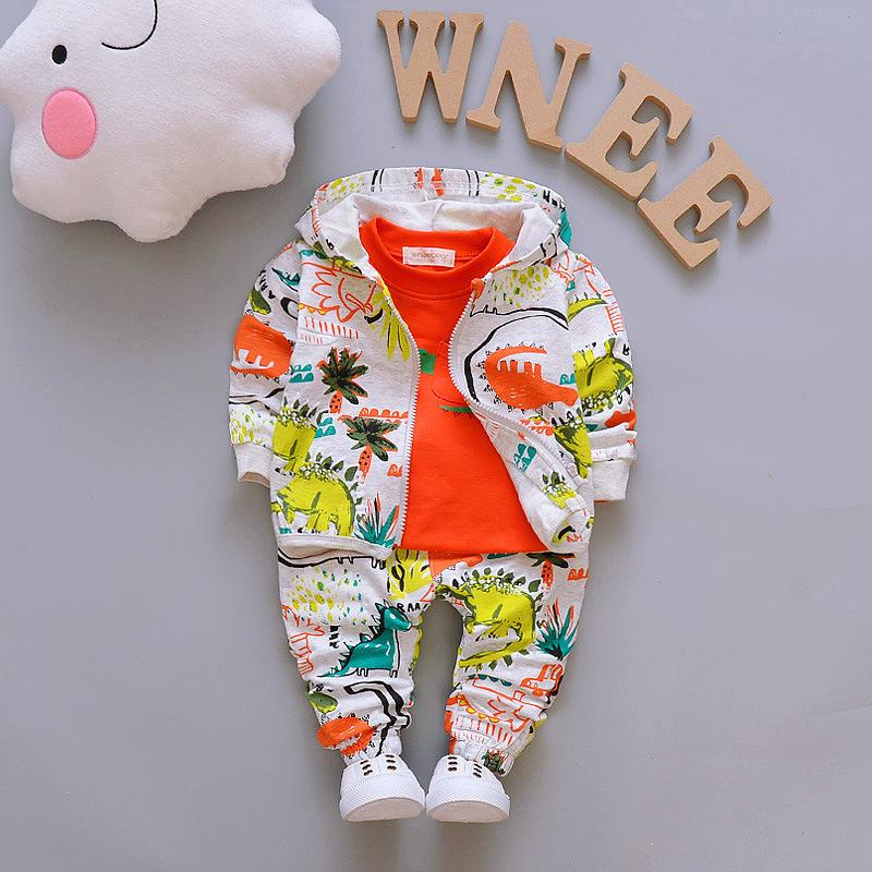 Spring Autumn Outfits Baby Girls Clothes Boy Cute Infant Cotton Suits Hooded Zipper Jacket T Shirt Pants 3pcs Boys Kids Clothing LJ200831