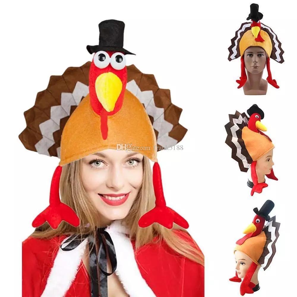 Casquillo divertido festivo Carnaval pierna de pollo Sombrero de Acción de Gracias Navidad Decoración Turquía Sombrero Carnaval sombrero del partido adulto Nuevo Acceso llegadas de vestuario