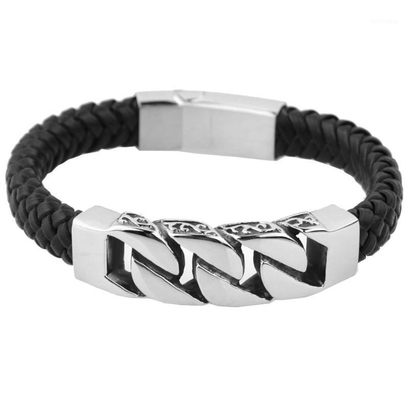 Bracelet en cuir de charme pour femme en acier inoxydable 21.5cm 11mm de largeur véritable bracelets en cuir bracelets hommes bijoux1