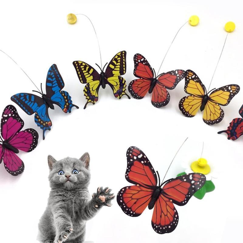 Borboleta colorida voando rotatable gato bateria alimentada de brinquedo interativo de animais de estimação