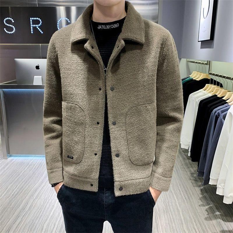 2021 New Men Autumn Winter Wool Blends OverCoats Solid Color Faux Formal Jacket Male Slim Fit Fashion Clothing D169