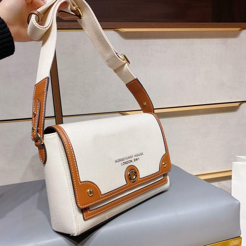 Newest Style Crossbody Shoulder Bag Canvas Real leather Patchwork Messenger Bags Women Handbag Purse Fashion Letter Durable White Flap Bags