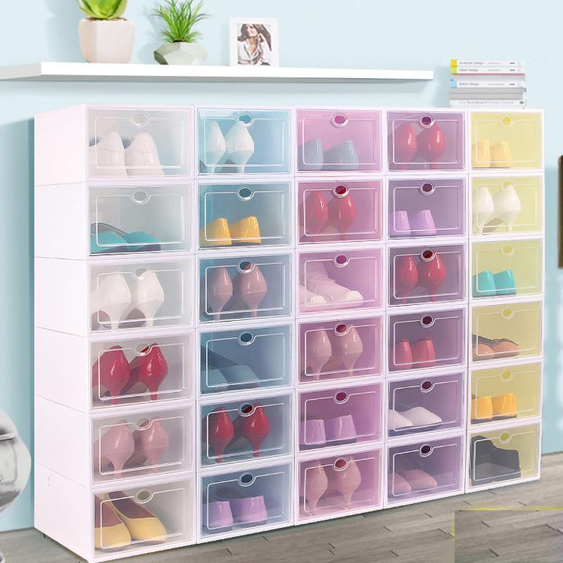 Утолщенный обувная коробка цвета прозрачный пластиковый ящик для обуви типа раскладушки ящика складного наращиваемых обувного шкаф ящик для хранения товаров для дома