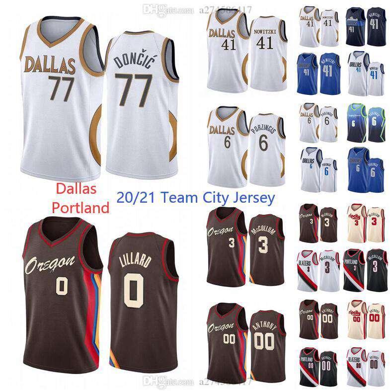 New Season 20/21 Men Basket Blackball 77 Doncic Jersey Damien 0 Lillard 41 Nowitzki 3 McCollem 6 Porzingis 00 Anthony Teams City Jersey