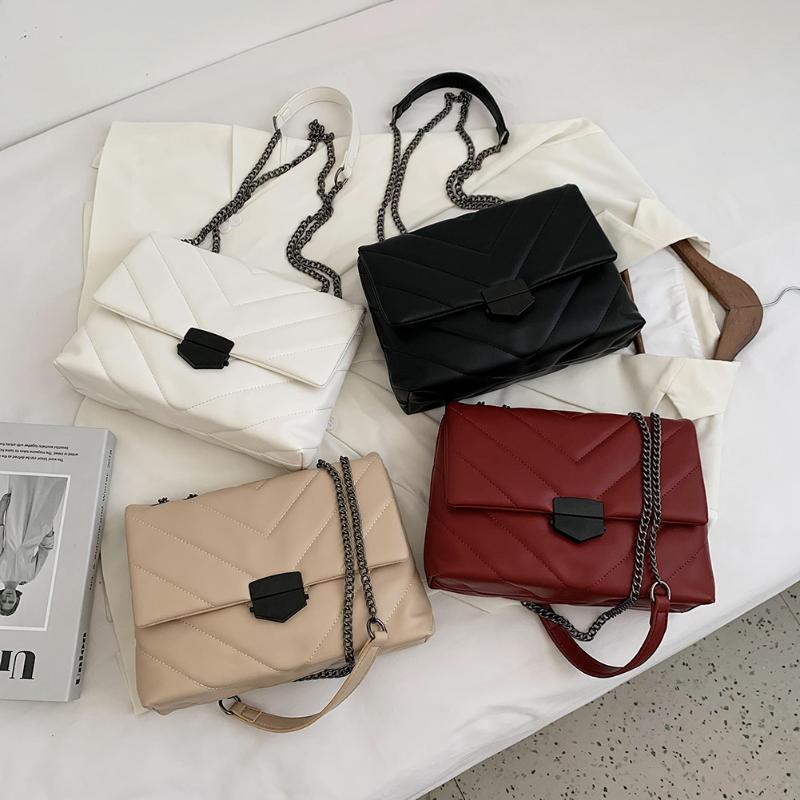 Moda donna reticolo modello borsetta in pelle PU in pelle a catena in cuoio a maniglia a catena casual casual borsa a tracolla