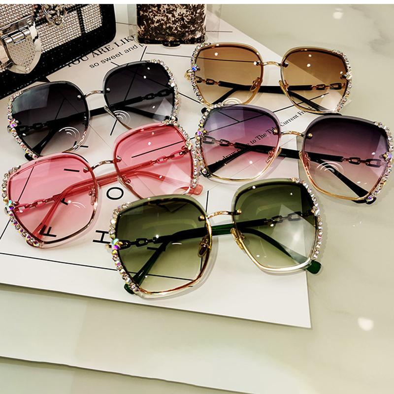 Gafas High Square Sunglasses Sungless Luxury 1006 Cuaresas Lentes Sol Sol Sol Polarizado Gradiente Mujeres Calidad de Vintage WJHDF RHINESTO HKAI