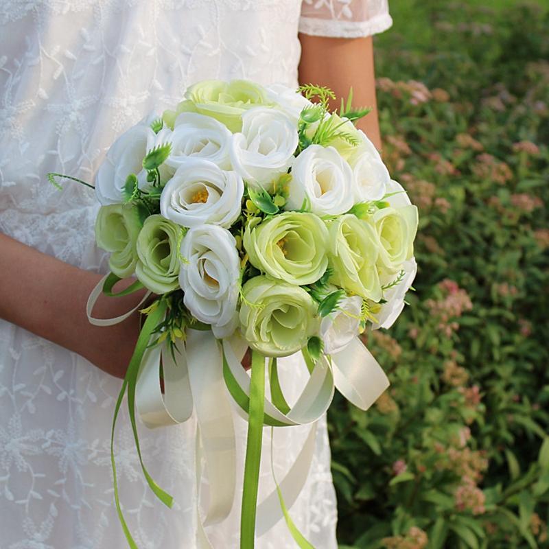 Yeşil Düğün Çiçekleri Gelin Buketleri Simülasyon Güller El Yapımı Nedime Buket Düğün Fotoğraf Dekorasyon Aksesuarları De Mariage