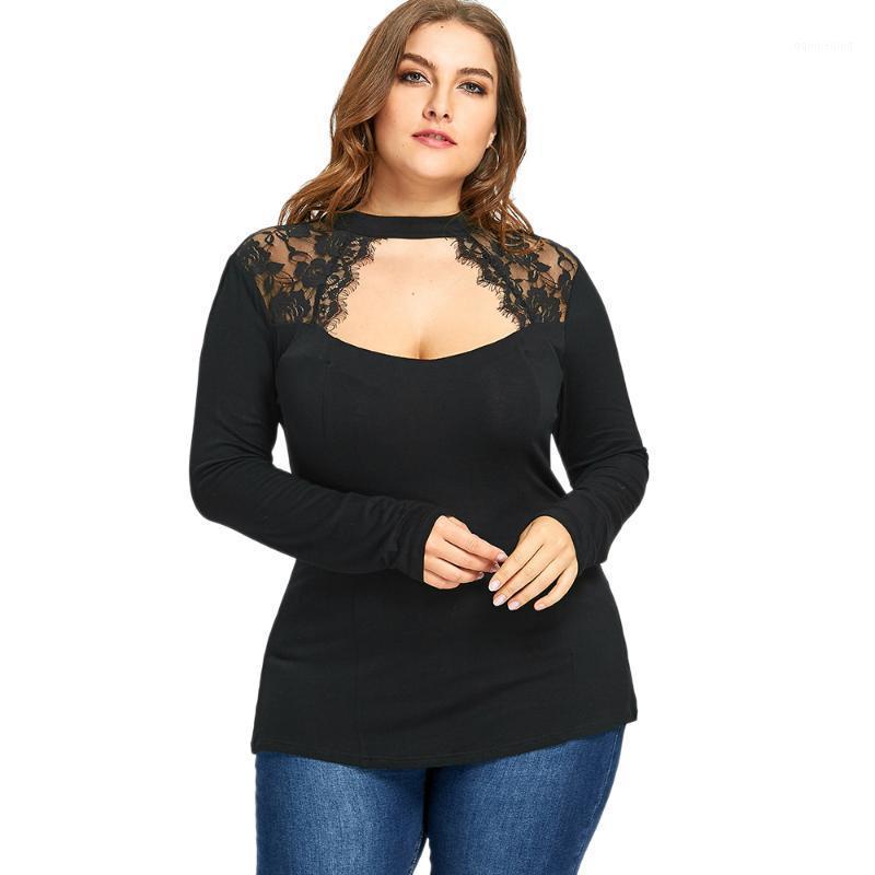 T-shirt da donna Charmma 2021 Plus Size 5xL Inserto di pizzo Inserto di pizzo Tophole Top Donne Gothic Nero Sexy Sexy Manica lunga Shirt femminile Oversized Sexy Big Size1