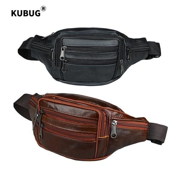 KUBUG Waist Packs Business Leather Purse Cowhide Travel Shouler Bag Outdoor Sports Running Cross-body Storage Bags Q1106