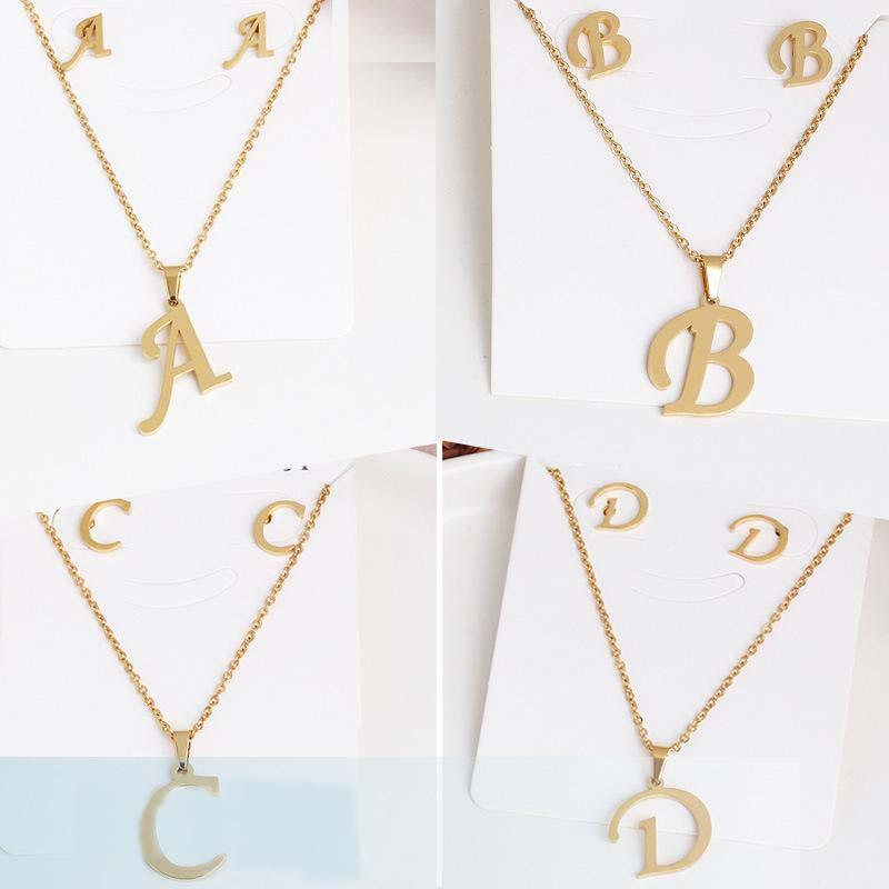 26 حرف القلائد مع القرط مجموعة الفولاذ المقاوم للصدأ الذهب المختنق قلادة قلادة الأولي قلادة النساء سلاسل الأبجدية المجوهرات