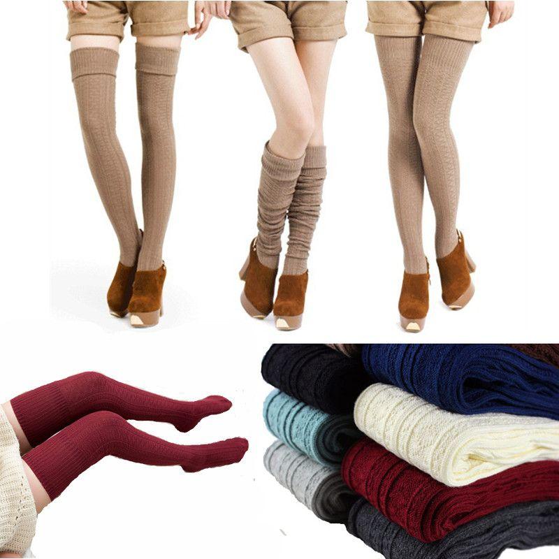 Rodilla calcetines de algodón mujeres de alta del muslo Sobre Las medias hasta la rodilla larga caliente de la media atractiva de las mujeres Medias Invierno 2020 Mujer