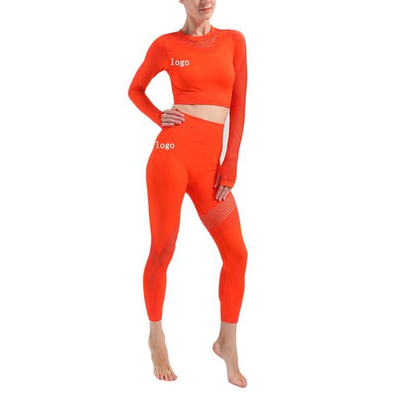 Trajes de yoga huecos de malla de malla sin fisuras juego de cintura alta sexy MEACH HIP SET