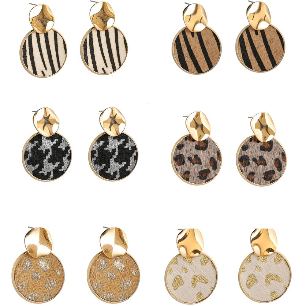 Fashion Leather Earrings for Women Leopard Print Dangle Leather Earrings Animal Print Round Earrings Drop Earring Valentine's Day Gift