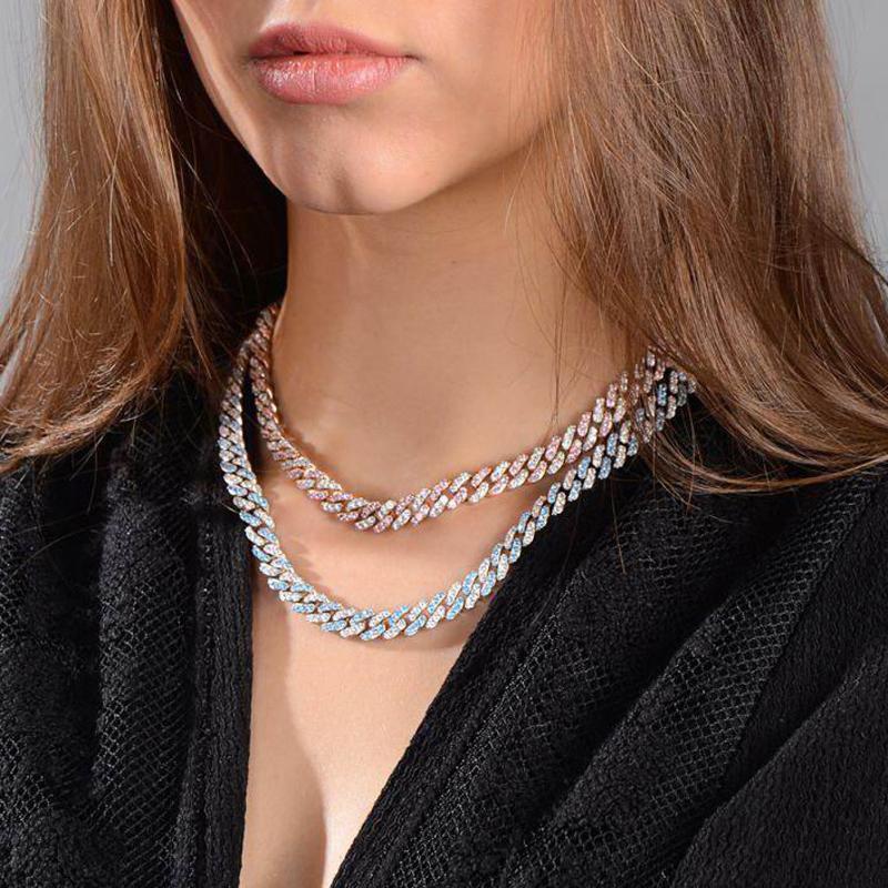 2020 Neue 9mm IHRE OUT Bling CZ Miami Kubanische Verbindung Kette Zwei Ton Rosa Blau CZ Choker Halskette Silber Farbe Frauen Modeschmuck