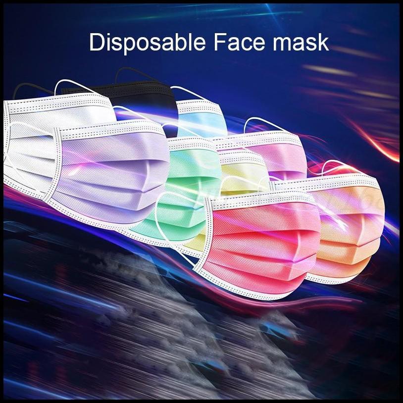 Disponibles Tres capas de colorido máscara de cara desechables adultas de máscaras protectoras con pulverización de fusión.