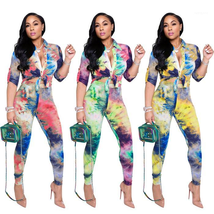 Casual Long Sleeve Lapel Neck Blouses And Pencil Pants Fashion Elegant Women 2pcs Outfit Clothing Tie Dye Womens Two Piece Sets
