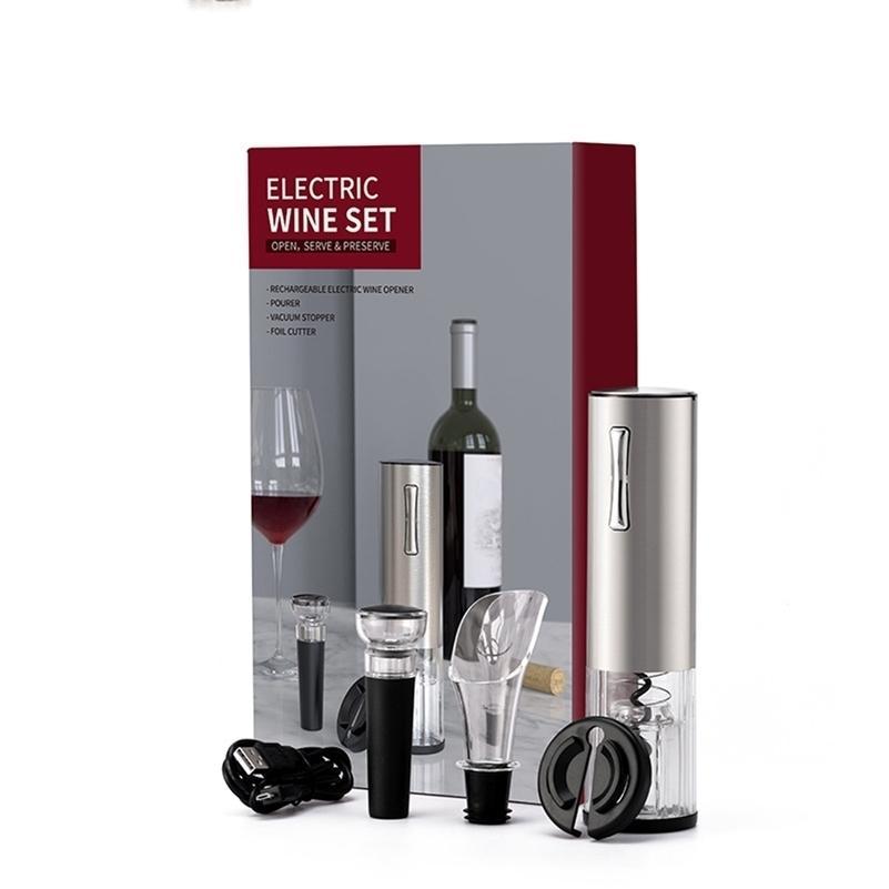 USB rechargeable vin ouvre d'ouverture de vin électrique coupe-bouchon automatique bouteille de bouteille électrique rechargeable ouvre-bouteille de scrapbooking ensembles 201208