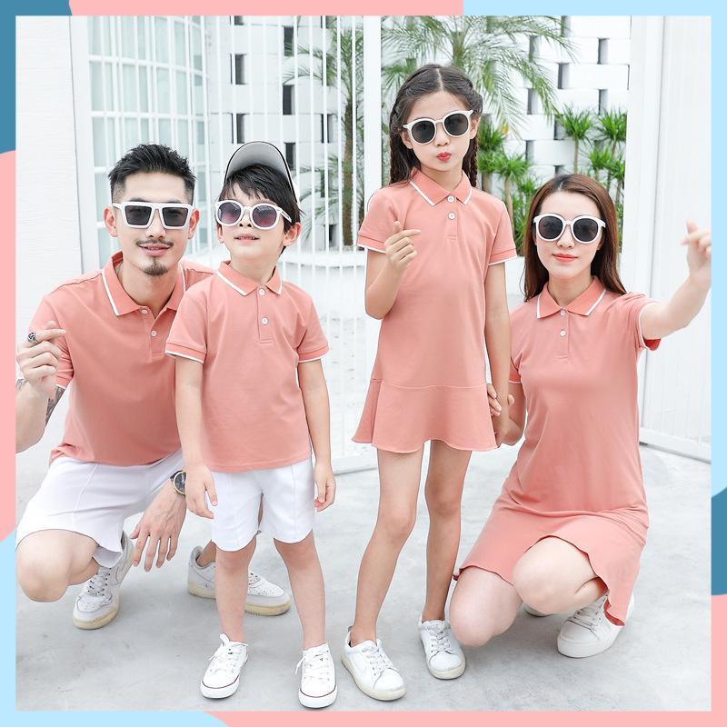 2020 Famiglia Abbigliamento Abiti Estate Polo Shirt Madre Figlia Abiti Abiti Da Papà Dad Son Turn Down Colletto Family Couple Vestiti Y200713
