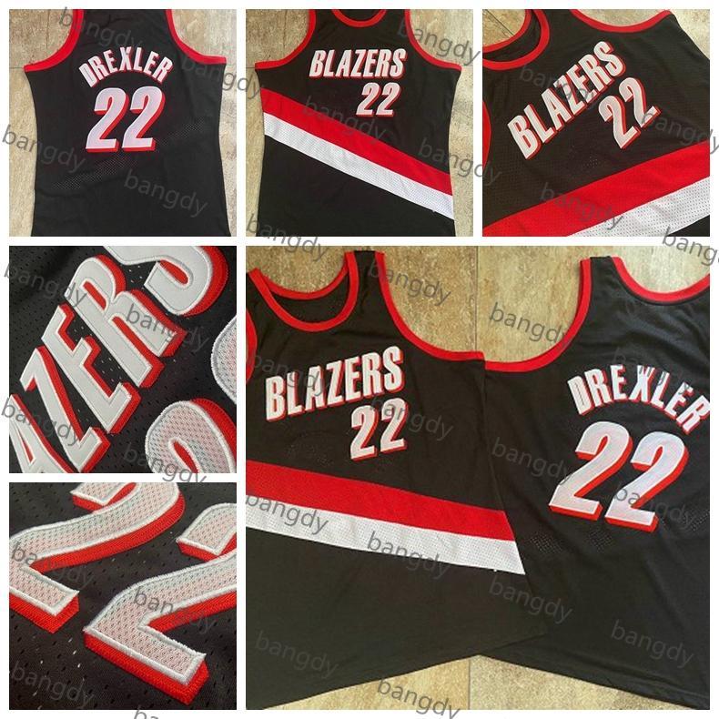 Mitchellness Vintage Basketbol Erkekler 22 Clyde Drexler Formalar 91-92 83-84 Mesh Yoğun Au Dikişli Nakış Logoları Dikişli Stok Gömlek Siyah