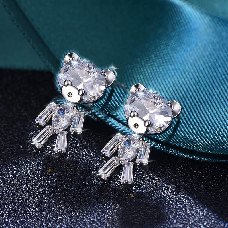 لطيف الدب الكريستال أقراط زركون للمرأة بنات S925 الفضة إبر 2020 صفقات الجمعة السوداء
