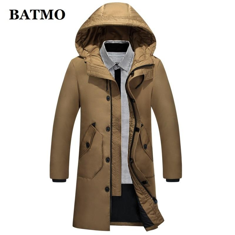 Batmo 2019 Новое Прибытие Высокое Качество 80% Белая Утка Куртки с капюшоном Мужчины, Мужская Зимняя Пальто SHOOD 61811