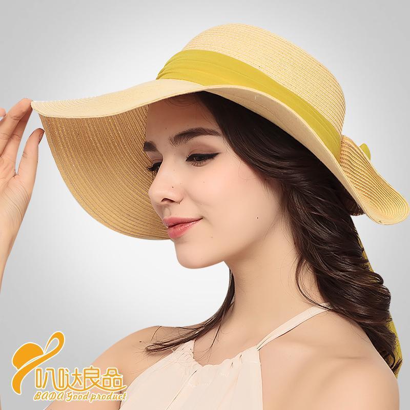 Szeroki Brim Kapelusze Wstążka Połowa Ladies Moda Słońce Kapelusz Waga Składająca Plaża w Lato Cztery Kolory Dostępne Wypoczynek Casual