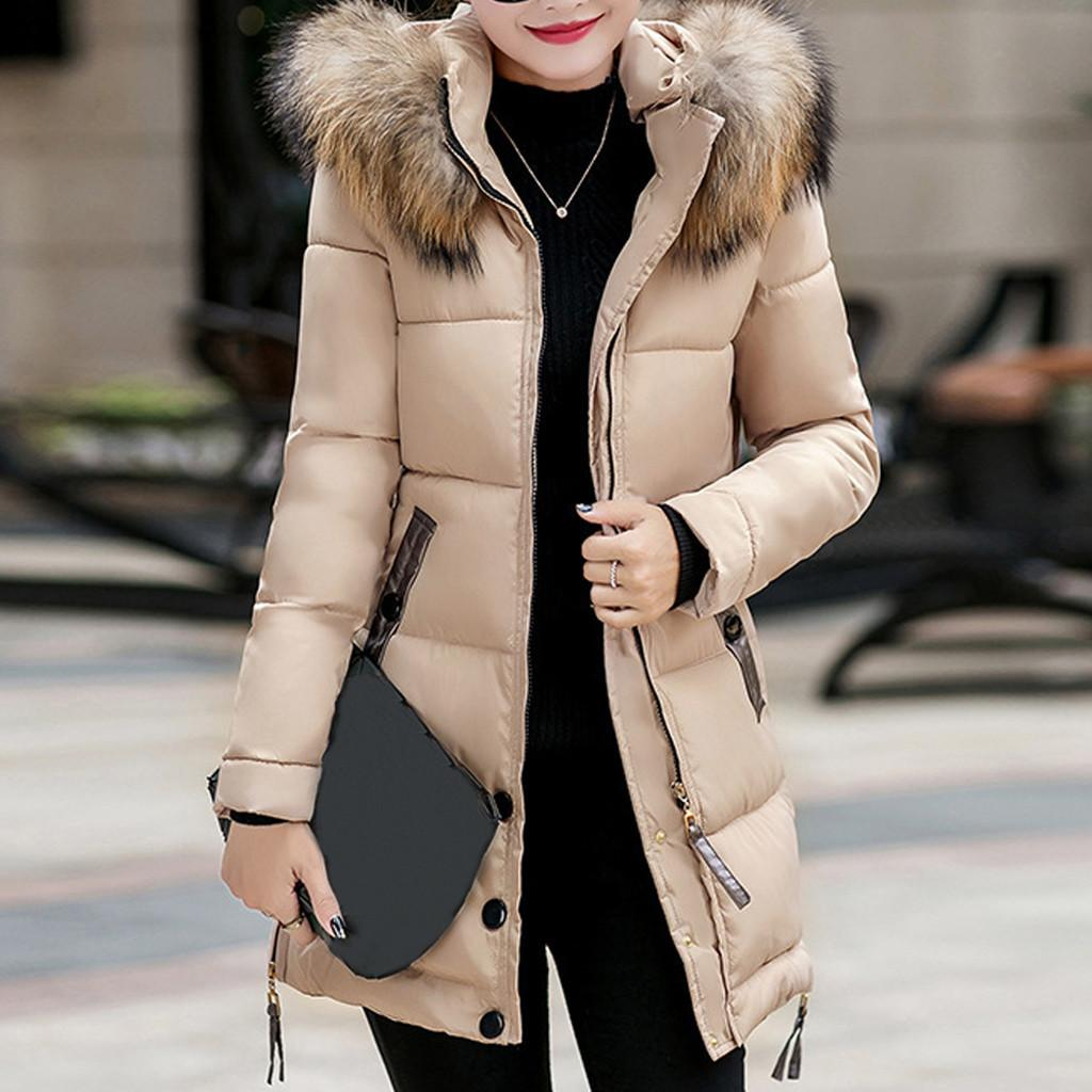 Female Long 2020 Coat Fake Fur Collar Parkas Woman Plus Size 4xl Down Winter Jacket Women