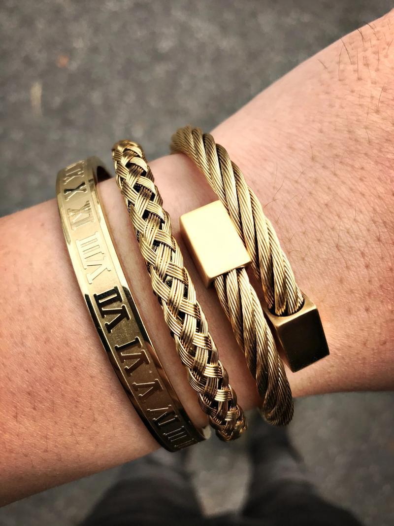 2 pçs / set pulseira de luxo pulseira de aço inoxidável escultura romana numeral casal pulseira para homens mulheres jóias