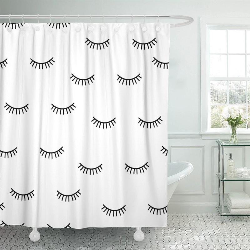 Custodia chiusa occhi neri modello carino modello bellezza bianco doccia tenda impermeabile poliestere 60 x 72 pollici set con ganci1
