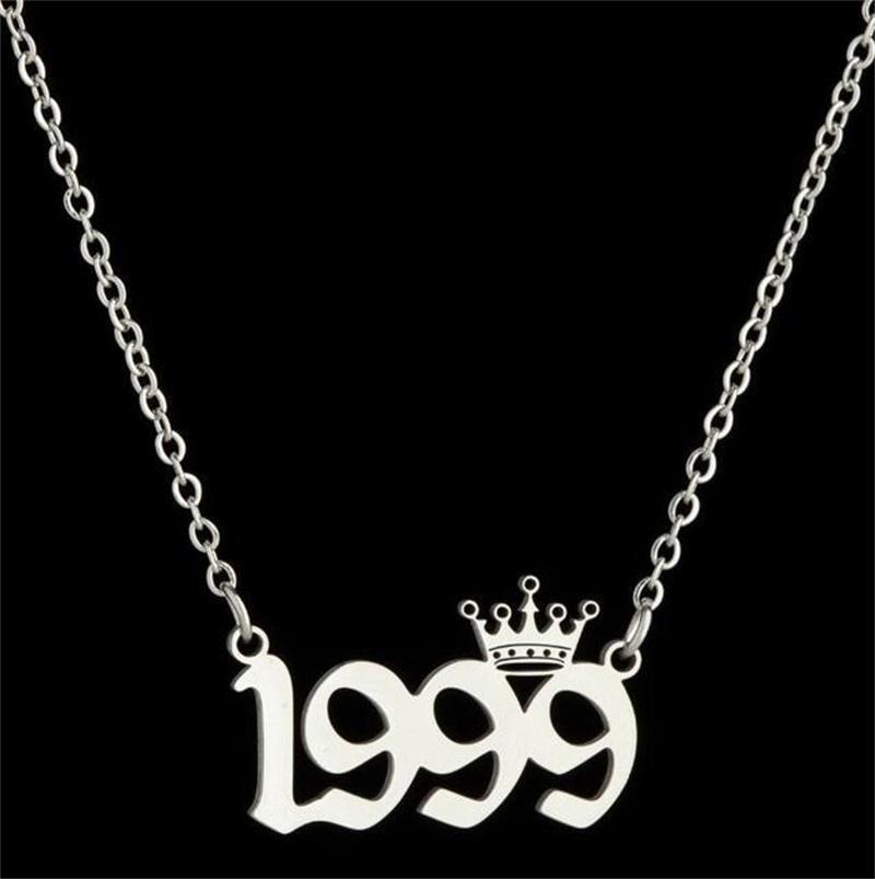 Персонализированные годы рождения Номер ожерелья Пользовательские Короны Первоначальные Ожерелье Подвески Для Женщин Девушки День Рождения Ювелирные Изделия Специальный год 28 O2