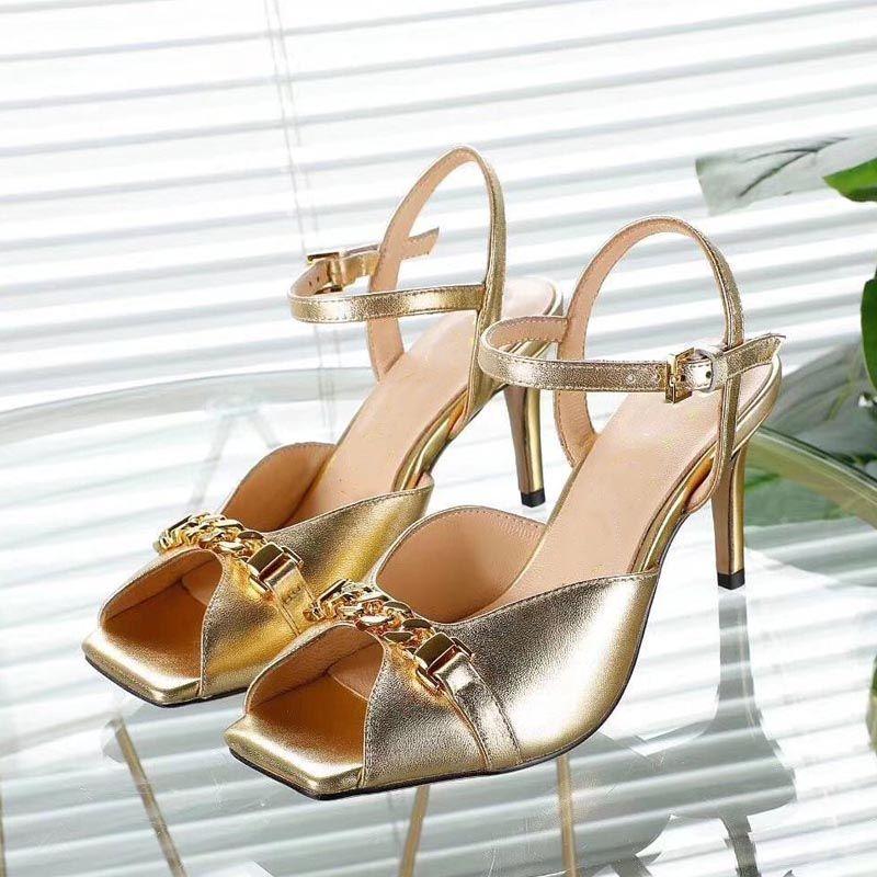 Poisson bouche bouche hautes talons talons talons femmes sandales d'été véritable robe en cuir véritable robe métallique ouverte orteils chaussures femme banquet talon élevé femme
