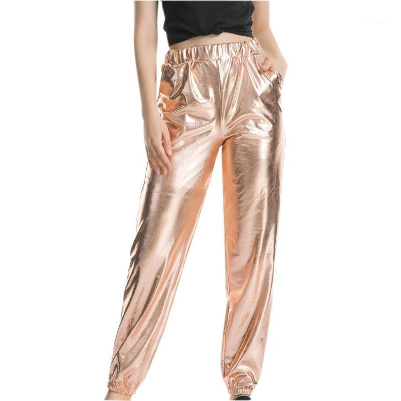 Koşu Pantolon kadın Rahat Spor Sokak Hip Hop Parti Parlak Sihirli Pantolon Yüksek Bel Katı Renk Uzun Pantolon Açık Kadın1