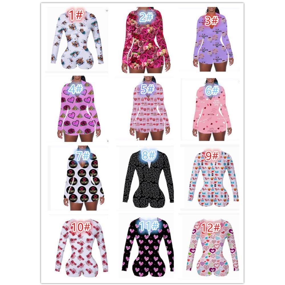 Sevgililer Günü Tasarımcısı Kadın Pijama Gecelikler Tulum Egzersiz Düğmesi Sıska Sıcak Baskı Tulumlar V Yaka Kısa Onesies Rompers DHL