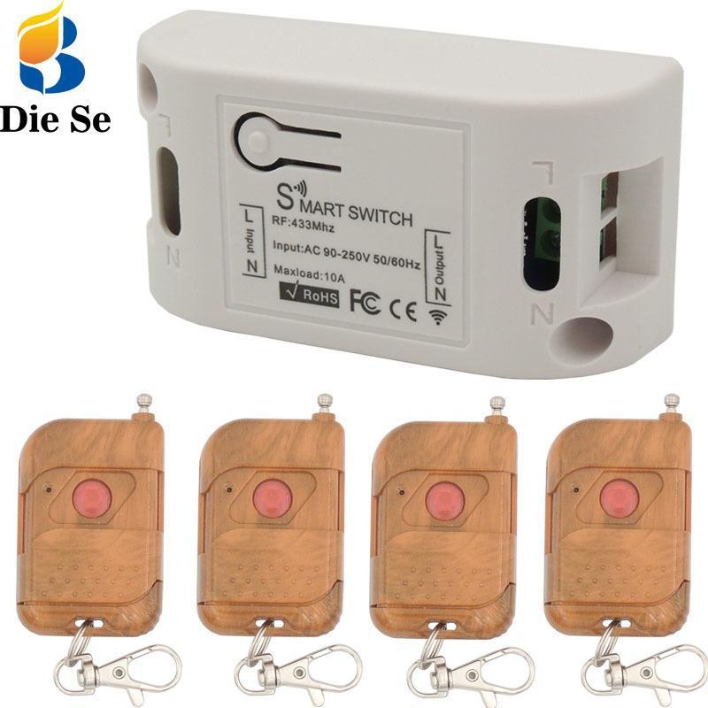 Produttori remoti 433MHz RF Controllo relè AC 220V 10A 2200W 1CH Ricevitore e FOBS per apriporta BULP Apri interruttore wireless
