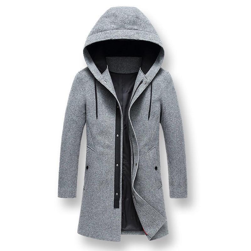 Otoño invierno Moda Hombres con capucha gris Patchwork larga de lana capa de la chaqueta, hombre 3XL Escudo con una capucha de lana