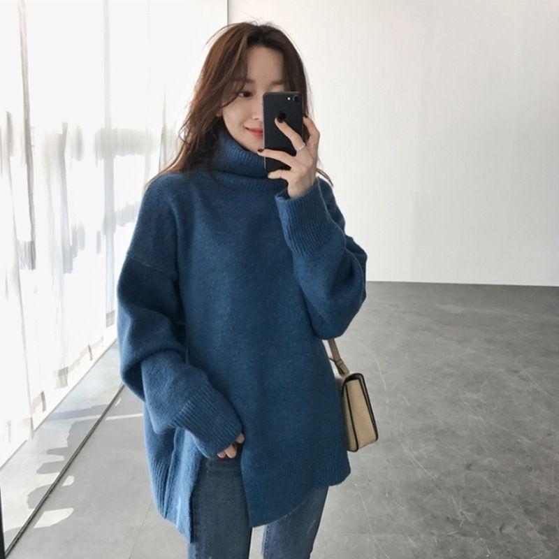 cX8wP automne nouveau chandail haut de femmes lâche Pull tricoté Pull à encolure PZ7CS long pull-coréen paresseux moyen