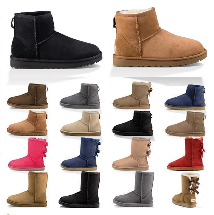 2020 New fahsion Frauen Stiefel Schnee Winterstiefel australische Satin Stiefel Ankle Booties Pelzleder Designer draußen Schuhgröße 36-41 CaaX #