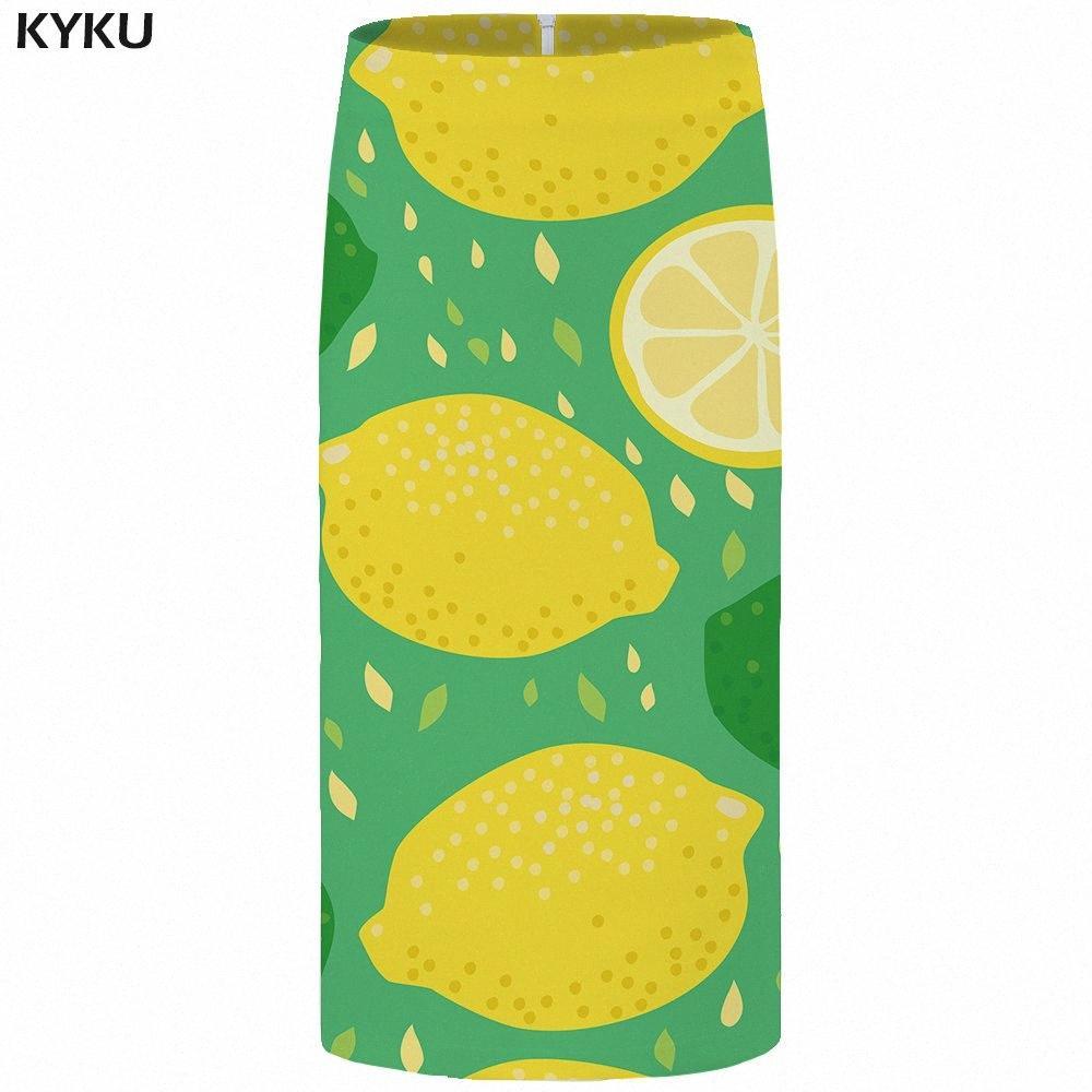 KYKU Limon Etekler Kadınlar Yeşil Meyve Seksi Etekler Harajuku Vintage Baskılı Parti Bayanlar Bayan Kore Moda 2018 Yeni xZJJ # 3d