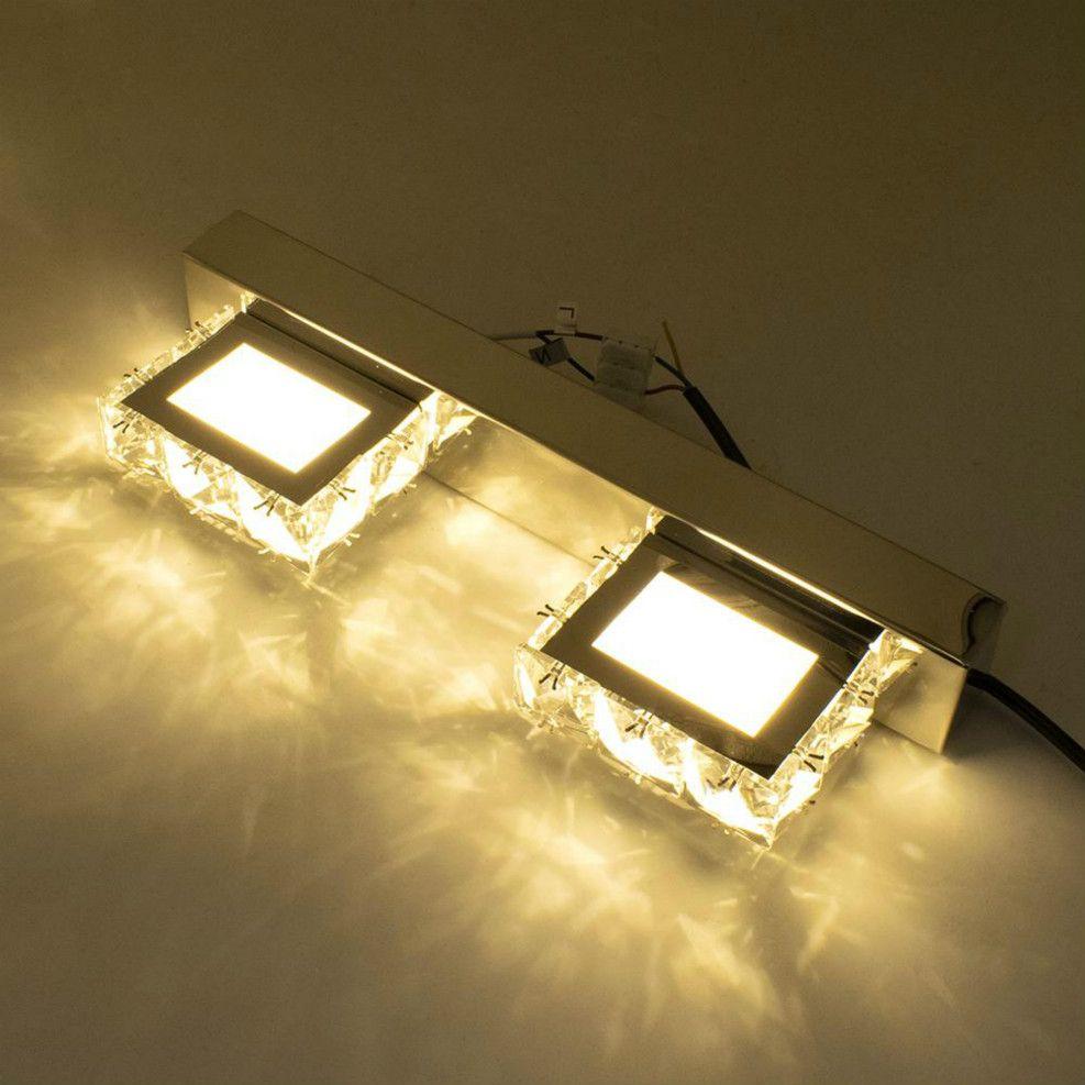 2 lumières miroir moderne mur étanche conduit salle de bain nordique Art Décor lumière cristal mur éclairage lampe en cristal Sconce