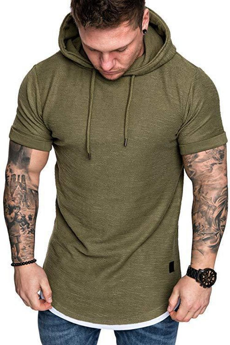 2021 Brand New Men's Hoodies Sweatshirts Casual Fashion Pure Color Pullover for Male Short Sleeve Hoodie Sweatshirt