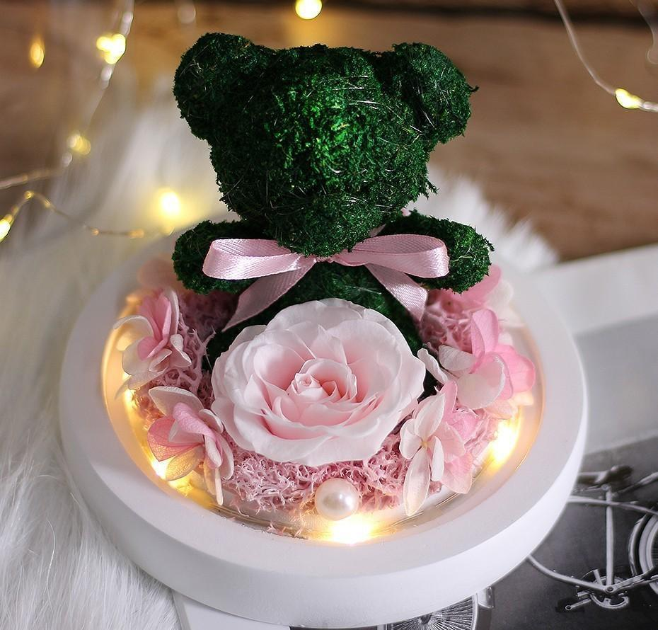 Teddy Bear Rose Flowers In Glass Dome Christmas Festival Diy Cheap Home Wedding Decoration Birthday Val bbyghr ladyshome